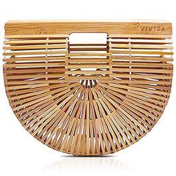 Vintga Bamboo Handbag Handmade Tote Bamboo Purse Straw Beach Bag for Women | Amazon (US)