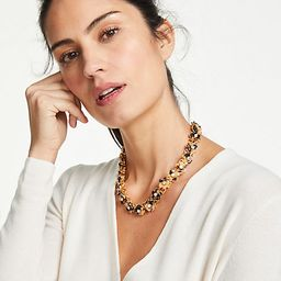 Tortoiseshell Print Flower Pearlized Necklace | Ann Taylor (US)
