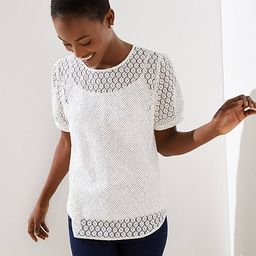 Lace Puff Sleeve Button Back Top | LOFT