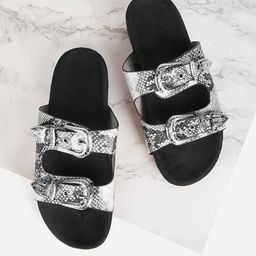 Buckle Decor Snakeskin Print Sandals | SHEIN