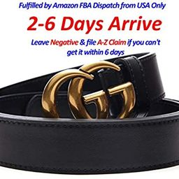 Luxury Gold/Sivler Buckle x Black Leather Unisex Belt for Men or Women ~ 3.2cm Belt Width | Amazon (US)