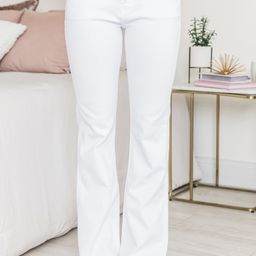 The Michelle White Flare Jeans | The Pink Lily Boutique