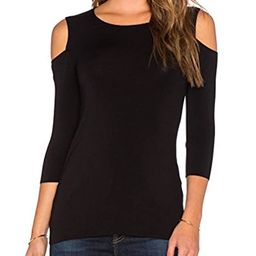 Mippo Women's Sexy Slim Fit Cold Shoulder 3/4 Sleeve Stretchy Shirt Casual Blouse Tops   Amazon (US)