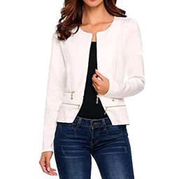 comfi1 Women's Casual Office Blazer Zip up Slim Fitted Work Jacket   Amazon (US)