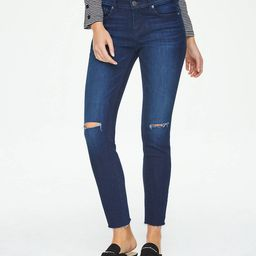 Petite Curvy Destructed Fresh Cut Skinny Jeans in Royal Rinse Wash | LOFT Outlet
