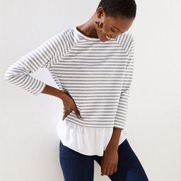 Striped Mixed Media Sweatshirt   LOFT