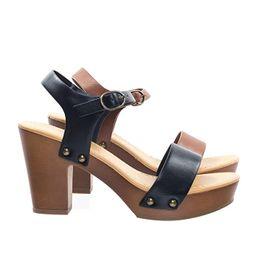 SODA Women's Bold Buckles Studded Wedge Sandal | Amazon (US)