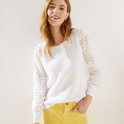 Eyelet Sleeve Mixed Media Sweater   LOFT