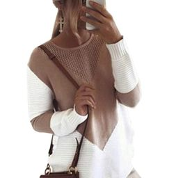 shermie Women Long Sleeve Crew Neck Pullovers Stitching Color Loose Knitted Sweaters Camel M at A... | Amazon (US)