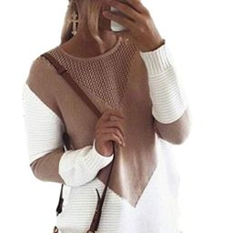 Takakei Women Long Sleeve Crew Neck Pullovers Stitching Color Loose Knitted Sweaters at Amazon Wo... | Amazon (US)