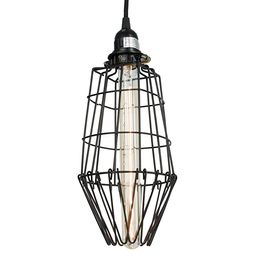 Rustic State Long Metal Wire Light Cage Guard Lamp Set with Tube Edison Light Bulb Black | Amazon (US)