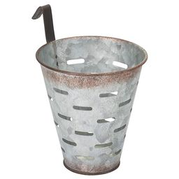 Designs Combined Galvanized gray Metal 5 x 4.5 inch Olive Harvesting Wall Bucket | Amazon (US)