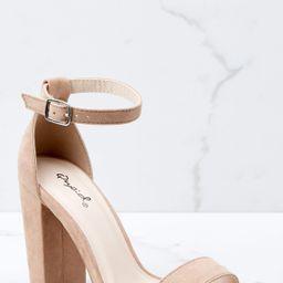 Jet Setter Nude Ankle Strap Heels | Red Dress