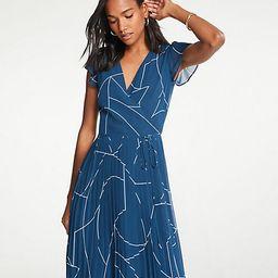 Geo Chiffon Wrap Dress   Ann Taylor (US)