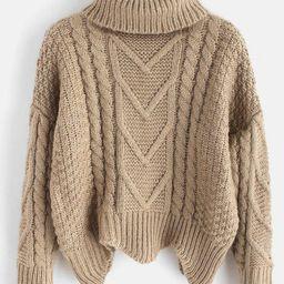 Chunky Knit Turtleneck Sweater   BLACK CHESTNUT RED DARK FOREST GREEN LIGHT KHAKI YELLOW   Zaful UK