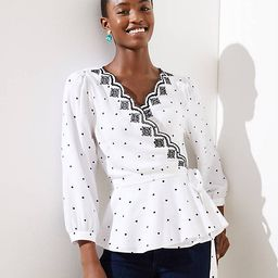 Dotted Scalloped Wrap Top | LOFT