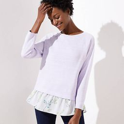 Floral Mixed Media Sweatshirt   LOFT