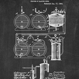 "Process of Making Beer Patent Print Chalkboard (16"" x 20"") M12474 | Amazon (US)"