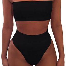 Amazon.com: Pink Queen Women's Removable Strap Wrap Pad Cheeky High Waist Bikini Set Swimsuit: Cl...   Amazon (US)