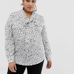 Glamorous Curve blouse with pussybow in scattered polka dot | ASOS US