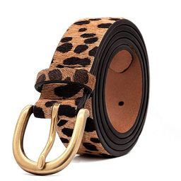 Women's Leopard Print Leather Belt for Pants Jeans Waist Belt with Alloy Buckle By LOKLIK | Amazon (US)