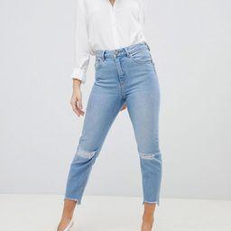 ASOS DESIGN Petite Farleigh high waist slim mom jeans in zaliki light vintage wash with busted knees | ASOS US