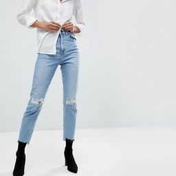 ASOS DESIGN Farleigh high waist slim mom jeans in light vintage wash with busted knee and rip & repa | ASOS US