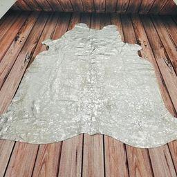 Brazilian metallic silver cowhide rug 78 X 69 Inches | Etsy (US)