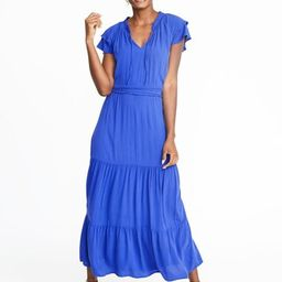 Waist-Defined Ruffle-Sleeve Crepe Maxi for Women | Old Navy US