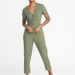 V-Neck Button-Front Jumpsuit for Women | Old Navy US