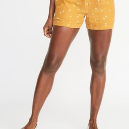 Mid-Rise Daisy-Print Linen-Blend Shorts for Women - 4-inch inseam | Old Navy US