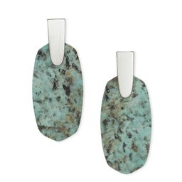 Aragon Silver Drop Earrings in African Turquoise | Kendra Scott