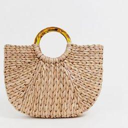 South Beach half moon straw bag with tortoiseshell handle | ASOS US