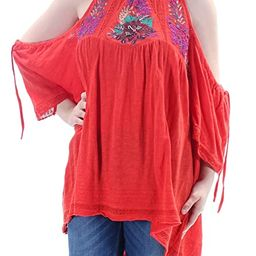 Free People Womens Embroidered Cold Shoulder Peasant Top | Amazon (US)