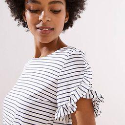 Striped Petal Sleeve Tee | LOFT