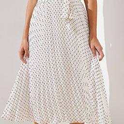 Tie Waist Pleated Midi Skirt | LOFT