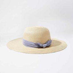 Striped Ribbon Floppy Straw Hat | LOFT