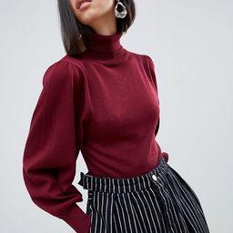 ASOS DESIGN eco crop roll neck sweater in volume sleeve | ASOS US