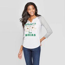 Women's 3/4 Sleeve Cheers for Beers Raglan Graphic T-Shirt - Grayson Threads (Juniors') - White | Target