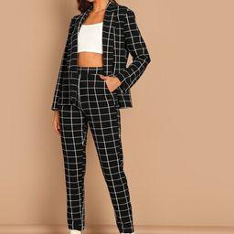 Grid Print Blazer & Pants Set | SHEIN