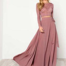 Crop Lace Top & Knot Skirt Set   SHEIN