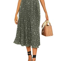 Miessial Women's Chiffon High Waist Pleated Midi Skirts Boho Floral Print Skirt | Amazon (US)
