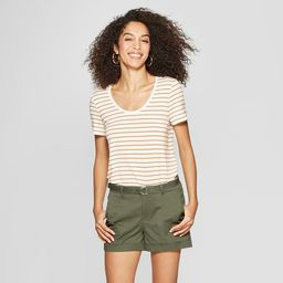 Women's Striped Any Day Short Sleeve Scoop Neck T-Shirt - A New Day™ | Target