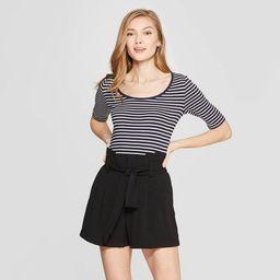 Women's Striped Regular Fit Scoop Neck T-Shirt - A New Day™ | Target
