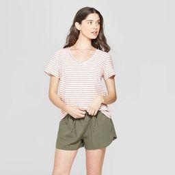 Women's Striped Short Sleeve V-Neck Monterey Pocket T-Shirt - Universal Thread™ Orange | Target