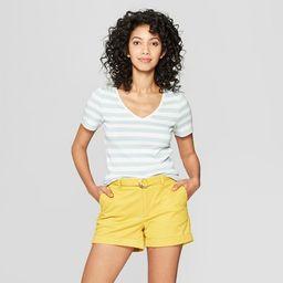 Women's Striped Short Sleeve V-Neck T-Shirt - A New Day™ | Target