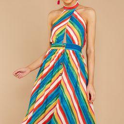 Newest Addition Rainbow Stripe Halter Midi Dress   Red Dress