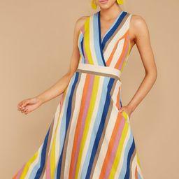 Different Colors Blue Multi Stripe Midi Dress   Red Dress
