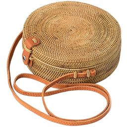 Bali Harvest Round Woven Ata Rattan Bag Linen Inside and Leather Button (with Genuine Leather Strap)   Amazon (US)