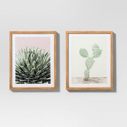 """Framed Cactus Wall Print 2pk White/Green 20""""x16"""" - Project 62™   Target"""